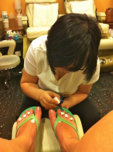 Getting a pedicure