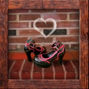 TUK shoes red and black platform heels