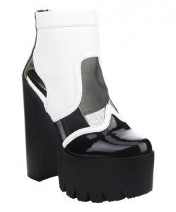 zulily black and white platform boot
